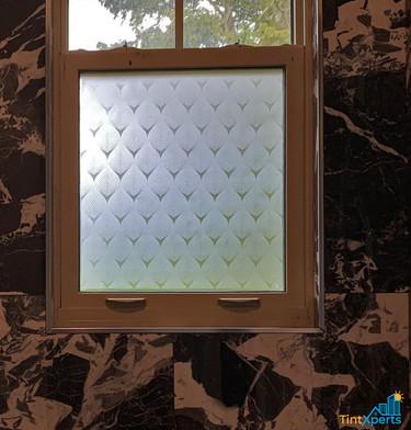 Custom Vetrilite Etched Glass Film Design applied over shower window