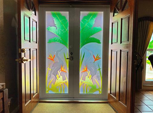 Hurricane Imapact Door with Vetrilite Overlay Design