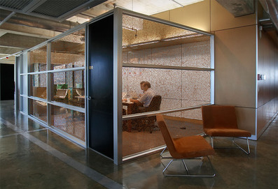 Vetrilite custom etched glass film applied on office partition glass