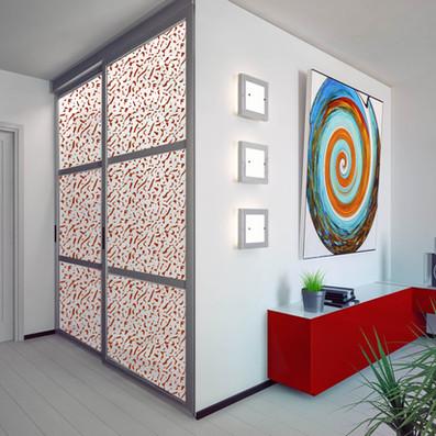 Vetrilite custom etched glass film applied on glass closet doors