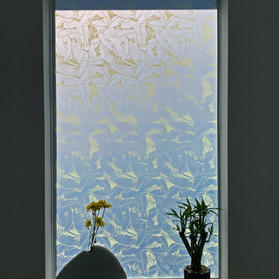 Vetrilite Custom Etched Glass Film applied on an exterior window.