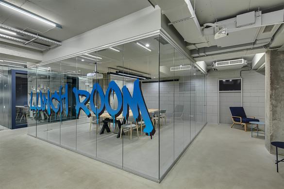 Glass office break rooom Vetrilite Overlay Design