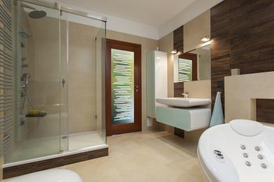 Custom Vetrilite Etched Glass Film Design applied over Bathroom Door