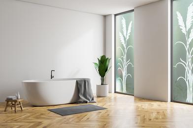 Custom Vetrilite Etched Glass Film Design applied over Bathroom Window