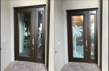 Before and After photo of an Entryway door