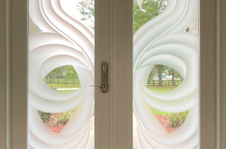 Entryway Vetrilite Etched Glass Film Alternative design applied on hurricane impact glass.
