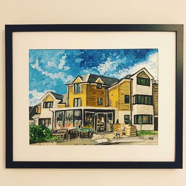 Saints Cafe. Oil on canvas board A3