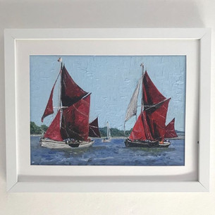 Thames barge sailboats. Oil on canvas board 10x8""