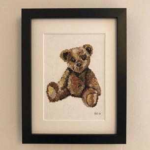"Teddy bear - oil on canvas board 5x7"""