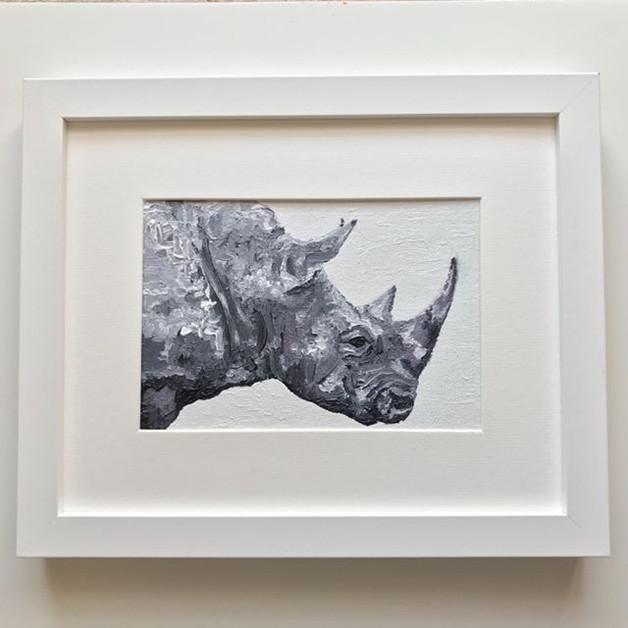 """Rhino. Oil on canvas board 5x7"""""""