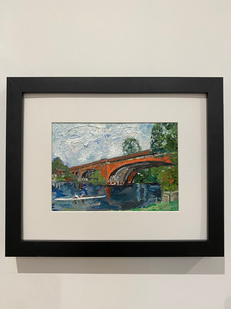 "Maidenhead railway bridge. Oil 5x7"""
