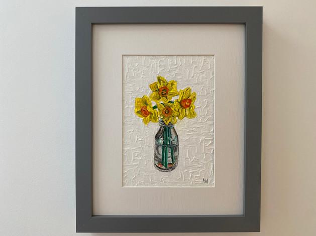 "Minaiture daffodils. Oil 5x7"""