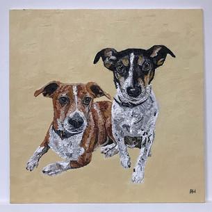 Pippa & Freddie. Oil on canvas board 30cm sq.