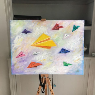 Paper Planes. A2 oil on canvas board