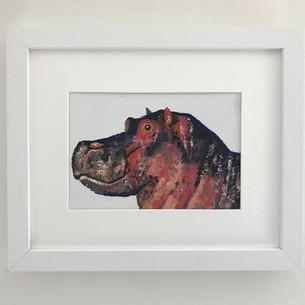 """Hippo. Oil on canvas board 5x7"""""""