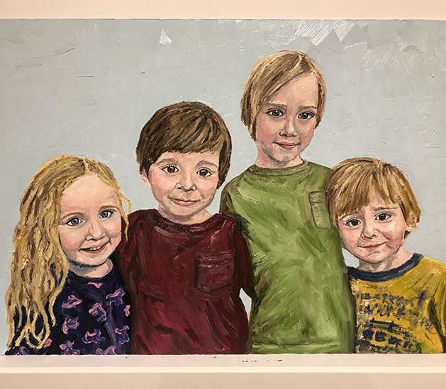 Cousins. Oil on canvas board A2