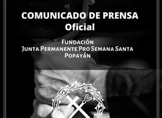 COMUNICADO DE PRENSA - Semana Santa 2020 No. 1