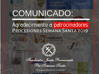 COMUNICADO: Agradecimiento a patrocinadores Semana Santa 2019