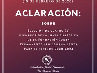 Resolución aclaratoria sobre convocatoria a elecciones de Miembros de la Junta Directiva