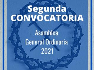 Segunda convocatoria Asamblea General Ordinaria 2021