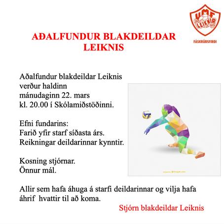 Aðalfundur Blakdeilar