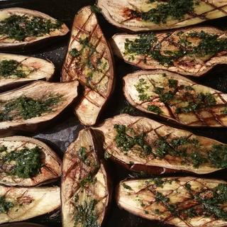 Grilled aubergine
