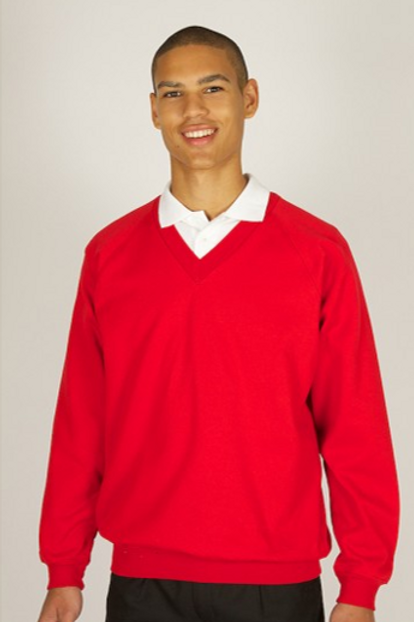Red Sweatshirt (V-Neck) with Thornton Hough Logo
