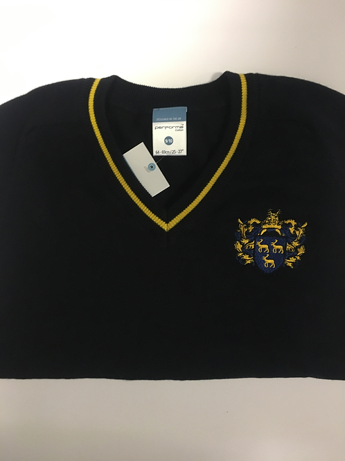 Boys Navy Jumper with Green Meadow Logo