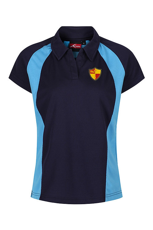 Navy and Sky PE Polo with Prenton Logo