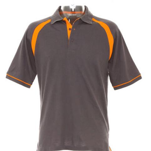 Charcoal/Orange polo with Teams 4 U logo (KK615)