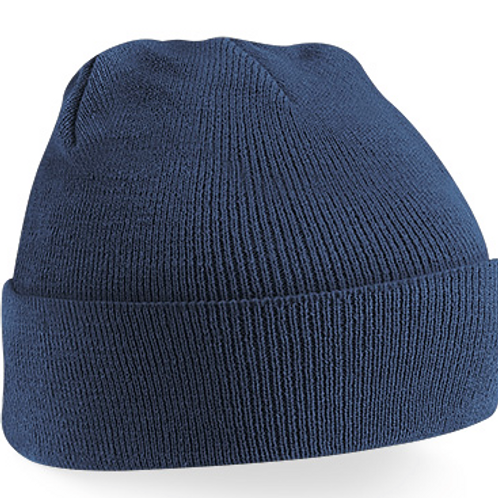 Navy Woolly Hat with Green Meadow Crest Embroidered