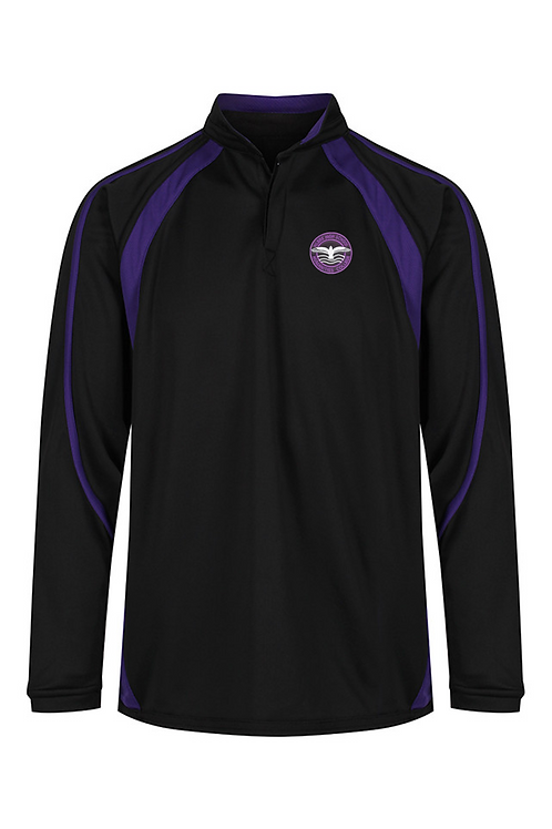Black and Purple Rugby Shirt with Hilbre Logo