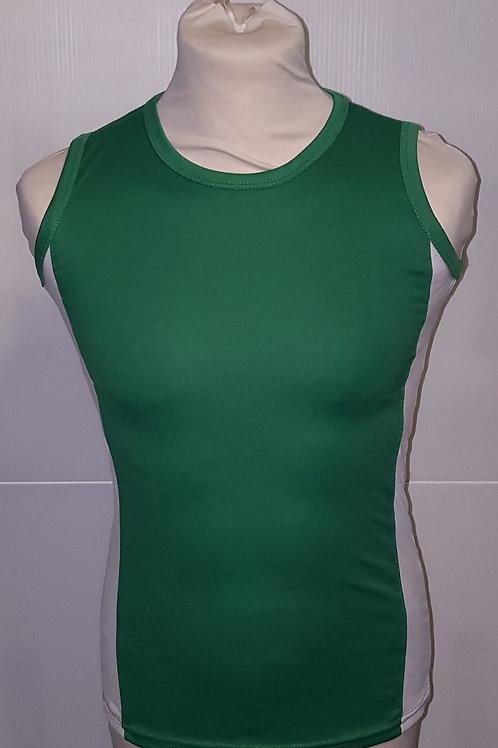 """Green/White """"Plain"""" Athletics Vests"""