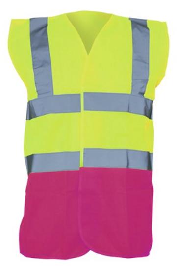 Yellow / Raspberry  Hi-Vis Vest  (Yoko YK001)
