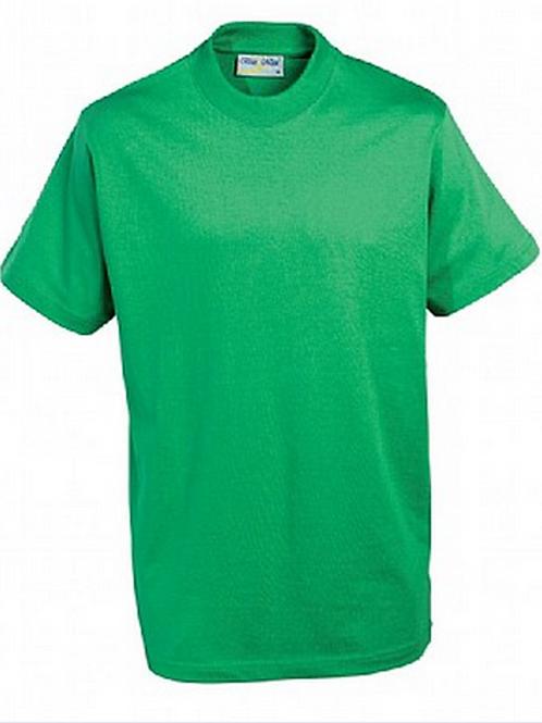 Green PE T-shirt with Woodchurch CofE Logo