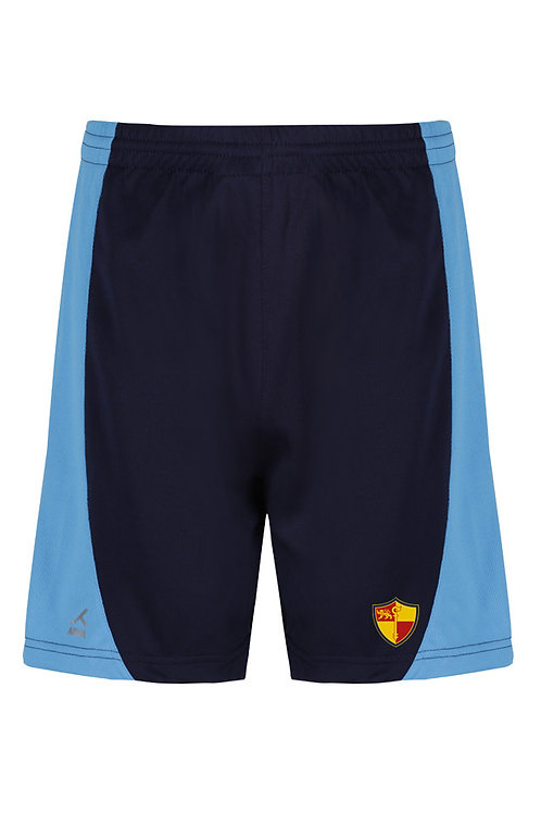 Navy and Sky PE Shorts with Prenton Logo