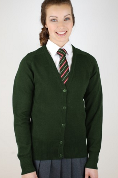 Green Courtelle Cardigan with St Albans Logo