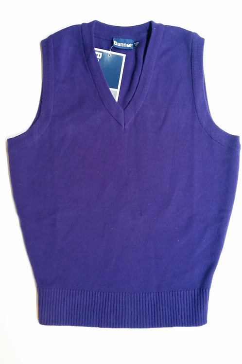 Purple knitted tank top with Poulton Lancelyn logo
