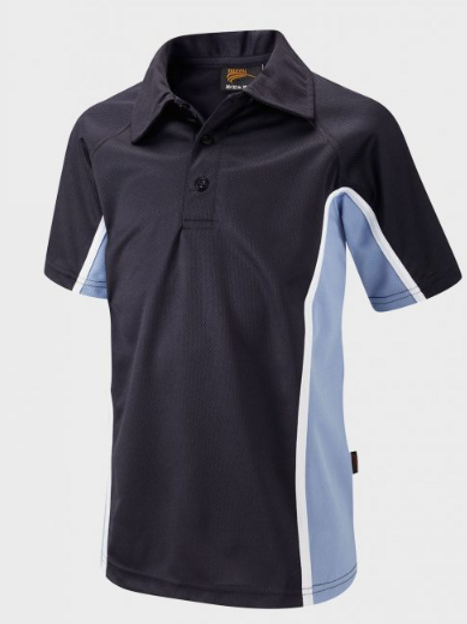Boys Navy / Sky PE Polo with Green Meadow Logo Embroidered on