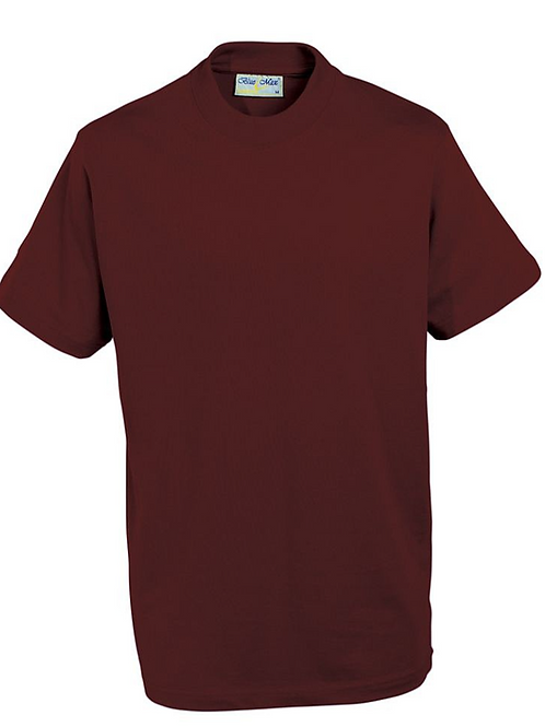 Maroon PE T-shirt with TPS Logo