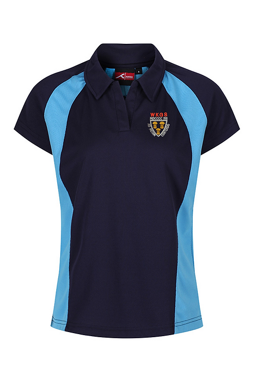 Navy and Sky PE Polo with West Kirby Logo