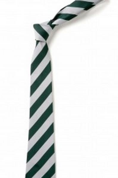 Green and White Striped Tie (No. 13)
