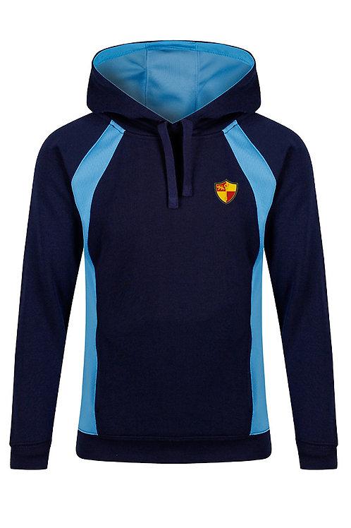 Navy and Sky PE Hoody with Prenton Logo