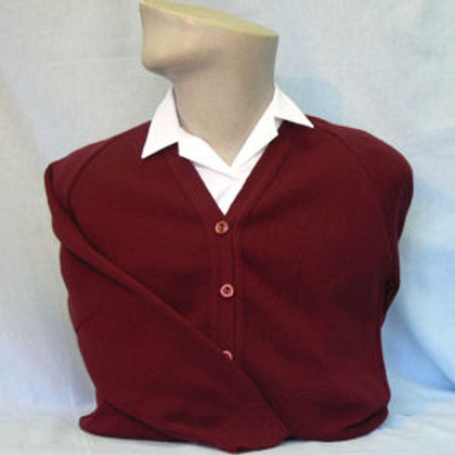 Maroon knited cardigan with Stanton road logo