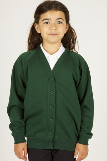 Green Sweatcardy with Greenleas Pre Logo