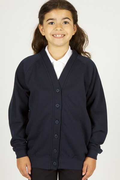 Navy Sweatcardy with co-op Woodslee Logo