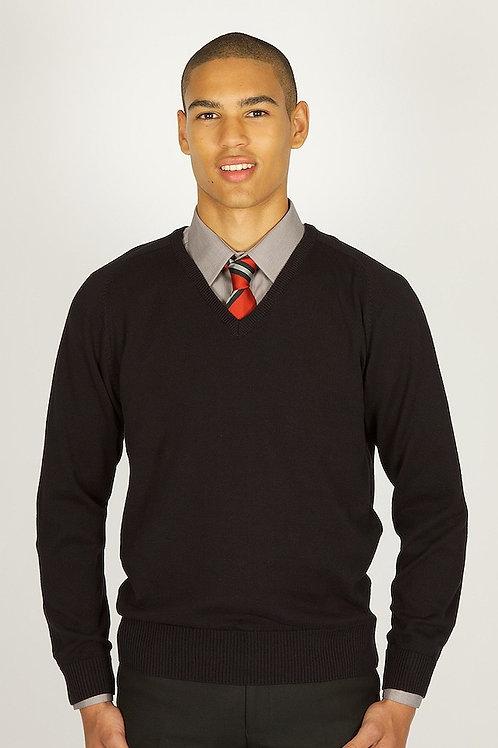 Black V-Neck Knitted Jumper (6th Form only)