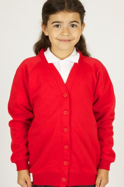 Red Sweatcardy with Busy Bee Day Nursery Logo