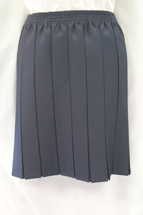 Navy Elasticated Box Pleat Skirt