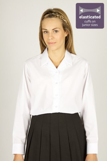 Long Sleeve Rever White Blouse TWIN PACK